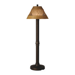 Patio Living Concepts - Patio Living Concepts Java 60 Inch Floor Lamp w/ 3 Inch Bronze Tube Body & Diamo - 60 Inch Floor Lamp w/ 3 Inch Bronze Tube Body & Diamond Center Pattern Weave Antique Honey Wicker Shade belongs to Java Collection by Patio Living Concepts All-weather handwoven center diamond pattern PVC wicker shade highlights the opal polycarbonate light globe in this elegant outdoor lamp. Features weatherproof all resin construction with heavy weighted base, two level dimming switch and 12 ft. weatherproof cord and plug. Waterproof light bulb enclosure allows the use of a standard 100 watt light bulb. Model # 16207 Lamp (1)