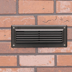 Kichler - Kichler Textured Architectural Bronze Deck & Patio Louvered Light - Designed to be integrated into brick walls during construction. Casts a low, even spread of light. Available with or without Louvers. (With louvers mode: Kichler 15074)  Low Voltage Louver Face Brick Light Die-cast Aluminum Heat Resistant Glass Lens Outdoor Use Only Masonry or Concrete use Only 2-10w max Q10T3 (Bulbs Included) Wiring: Wire connection must be made inside fixture housing. 75 degree supply wire required.