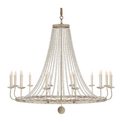 Kathy Kuo Home - Naples French Country Classic Beaded Gray 12 Light Chandelier - All eyes will be on this beautifully beaded twelve light chandelier. White, speckled wrought iron arms support a dozen candelabra lights as they dazzle from the ornate, oversized circumference of this elegant French country classic.