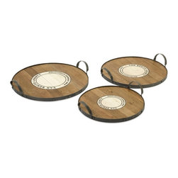 """IMAX - Benito Wood and Metal Trays - Set of 3 - This set ofeethr  Benito trays feature the Wine Growers Association emblem of San Benito county are made from recycled wood  come in a set ofeethr  sizes. This is a beautiful versatile set ofeetrays that work for a variety of uses. Item Dimensions: (3.5""""h x 16.25-18.25-20.50""""d)"""
