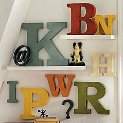 Antiqued Metal Letters and Symbols - Typography art adds a bold feel to any wall. I would use these colorful letters to create my initials or maybe a reminder to S-T-U-D-Y.