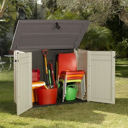 Store It Out XL Shed - Keep your backyard in order with the Store It Out XL Shed. This spacious shed is perfect for storing all of your outdoor essentials, from garbage cans to lawn mowers. Crafted of all-weather plastic, this shed is built to last in any climate. The shed features decorative wood-like panels and lockable doors.About KeterFor over 60 years, Keter Plastic has proven its commitment to innovation, quality, and design by continually meeting changing needs and trends. Keter's product range reaches a consumer base across the world, focusing on outdoor furniture and storage with a commitment to the environment.
