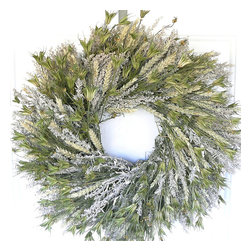 "Frontgate - Spring Greens Wreath - 24"" dia. - Grown, dried, and preserved in the Pacific Northwest, using only natural preservatives. Imaginatively designed and hand-assembled. Secured on a wire frame. Will maintain its fresh-picked appearance year after year. Only display in a covered area away from outdoor elements. Usher in the new season with our Spring Meadows Wreath. This swirling arrangement is a simple all-natural blend of orientalis, artemisia, and beardless green wheat made to transport you to a fresh outdoor field wherever it is placed. . . .  . . Made in USA."