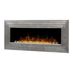 Dimplex Ashmead Antique Silver Linear Wall Mount Electric Fireplace - DWF42AG-14 - The Dimplex Ashmead Antique Silver Linear Wall Mount Electric Fireplace breathe contemporary cool and elegance to your home. Its stunning antique silver finish perfectly complements its stair-step, tiered design, naturally drawing the eye to the central firebox. The Dimplex patented LED flame technology truly creates an incredibly realistic fire effect that appears to rise directly from within the modern acrylic ice chunks. The reflections of the lights on the ice create an alluring sense of movement which brings additional depth and realism to the flame effect. You won't be disappointed with the look of this breathtaking wall fireplace. With the option to display the Ashmead on a wall or make use of the include pedestal base and show on a table or sideboard, you'll have countless opportunities to display your new electric fireplace. The unit's powerful -fan-forced heater will keep you toasty warm on even the chilliest of evenings. The heater amply provides supplemental warmth for rooms up to 400 Sq. Ft., using a fan-forced heater. For true year round enjoyment, the heat function can be turned off while maintaining the dancing flame effects. Bring that showpiece you've been missing to your home with the Dimplex Ashmead Wall Mount Electric Fireplace.