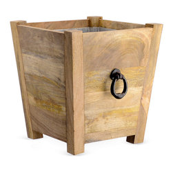 18-Inch Mango Wood Planter, Brown - This mango wood planter is sleek with its modern lines, but the dark metal handles give it a classic feel.