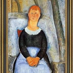 """Art MegaMart - Amedeo Modigliani The Beautiful Grocer - 16"""" x 24"""" Framed Premium Canvas Print - 16"""" x 24"""" Amedeo Modigliani The Beautiful Grocer framed premium canvas print reproduced to meet museum quality standards. Our Museum quality canvas prints are produced using high-precision print technology for a more accurate reproduction printed on high quality canvas with fade-resistant, archival inks. Our progressive business model allows us to offer works of art to you at the best wholesale pricing, significantly less than art gallery prices, affordable to all. This artwork is hand stretched onto wooden stretcher bars, then mounted into our 3 3/4"""" wide gold finish frame with black panel by one of our expert framers. Our framed canvas print comes with hardware, ready to hang on your wall.  We present a comprehensive collection of exceptional canvas art reproductions by Amedeo Modigliani."""