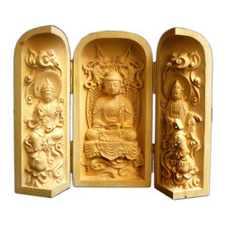 Golden Lotus - Chinese Folding Wood Carved Buddha Display Figure Hcs603-1 - This is a wooden carved small Buddha display figure which can be folded or opened with three statue figures relief carving inside.