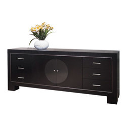 Sharelle Furnishings - Jordan Buffet - Features: -Two doors and six drawers.-Black glass circle in center doors.-Wenge finish.-Metal accents.-Jordan collection.-Collection: Jordan.-Distressed: No.Dimensions: -Overall Product Weight: 165 lbs.