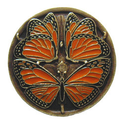 """Notting Hill - Notting Hill Monarch Butterflies Knob - Brass Enameled - Notting Hill Decorative Hardware creates distinctive, high-end decorative cabinet hardware. Our cabinet knobs and handles are hand-cast of solid fine pewter and bronze with a variety of finishes. Notting Hill's decorative kitchen hardware features classic designs with exceptional detail and craftsmanship. Our collections offer decorative knobs, pulls, bin pulls, hinge plates, cabinet backplates, and appliance pulls. Dimensions: 1-3/8"""" diameter"""