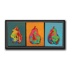 """Jeff Boutin - Trio of Nine Pears 13 x 25 Print - """"Trio of Nine Pears"""" is a canvas giclee by Jeff Boutin. We present this to you in a 0.5"""" black floater frame with no lip or edge of frame overlapping the face of your picture. This makes for an overall framed size of 13 x 25."""