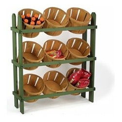 Wood Display Baskets - What do you do when you bring your farmer's market purchases home? Why not bring the market feel to your kitchen with this display?