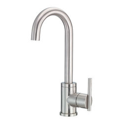"Danze - Danze D151558SS Stainless Steel Parma Bar / Prep Faucet From the Parma - Product Features:Faucet body and handles feature all-brass constructionFully covered under Danze's limited lifetime faucet warrantyHigh-quality finishing process – finish covered under lifetime warrantyKitchen faucets from Danze are designed to not only function flawlessly, but nourish the eyeSmooth single handle operationADA compliant handleLow lead compliant – meeting federal and state guidelines for lead contentAll hardware required for faucet installation is includedProduct Technologies and Benefits:Drip-Free Ceramic Disc Valves: By making these components standard across all of their kitchen faucets, Danze has made leaking and rough operating faucets a thing of the past. These valves provide a lifetime of smooth handle control, and never allow a drop of water out of place. They are maintenance free and are sturdy enough to withstand the most severe conditions.Product Specifications:Overall Height: 13-1/16"" (measured from mounting deck to highest point on faucet)Spout Height: 9-3/16"" (measured from mounting deck to spout outlet)Spout Reach: 5-1/4"" (measured from center of faucet body to center of spout outlet)Faucet Holes: 1 (number of holes required for faucet installation)Flow Rate: 2.5 gallons-per-minute1 handle included with faucetMaximum Deck Thickness: 2"" (cannot mount on decks thicker without extension kit)Designed for use with standard U.S. plumbing supply bibs"