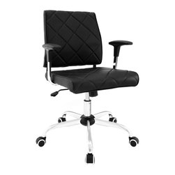 LexMod - Lattice Vinyl Office Chair in Black - Introduce elegance to your office environment. Lattice is a plush vinyl office chair that has all the comfort you need without compromising on style. Outfitted with a polished chrome frame, five hooded casters, and two padded vinyl arms, Lattice blends both decor and usability in one seamless presentation of modernity.