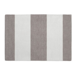 Gray Linen Awning Stripe Custom Placemat Set - Is your table looking sad and lonely? Give it a boost with at set of Simple Placemats. Customizable in hundreds of fabrics, you're sure to find the perfect set for daily dining or that fancy shindig. We love it in this gray & white awning stripe in luxurious pure linen for an elegant, breezy addition to any classic home.
