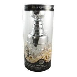 Pangea - Stanley Cup Popcorn Maker Silver - Behold the Stanley cup popcorn popper a 17-inch tall replica Stanley cup that opens to reveal an air popper. The bowl of the cup then transforms into a serving bowl for the popcorn. Snack like a champion! Silver.
