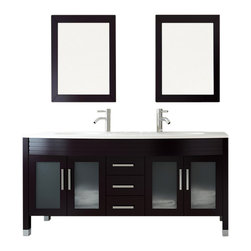"JWH Imports - 63"" Grand Regent Large Double Sink Modern Bathroom Vanity with Phoenix Stone Top - Sleek and modern in design, this double-sink vanity is as impressive to view as it is incredibly functional. The countertop houses two recessed sinks, along with two lower cabinets with frosted-glass doors and a center panel of three sliding doors. Crafted of sturdy natural oak, this vanity comingles sensible storage with impressive aesthetic sensibility"