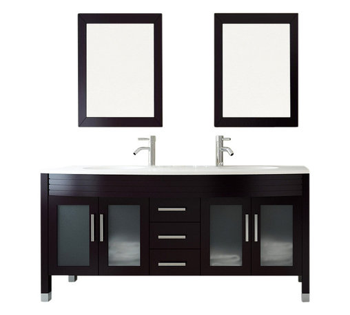 """JWH Imports - 63"""" Grand Regent White Double Sink Modern Bathroom Vanity with Phoenix Stone Top - Sleek and modern in design, this double-sink vanity is as impressive to view as it is incredibly functional. The countertop houses two recessed sinks, along with two lower cabinets with frosted-glass doors and a center panel of three sliding doors. Crafted of sturdy natural oak, this vanity comingles sensible storage with impressive aesthetic sensibility"""