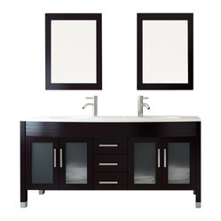 Grand Regent Large Double Sink Modern Bathroom Vanity with Phoenix Stone Top