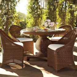 Palmetto All-Weather Wicker Round Pedestal Dining Table & Set, Honey