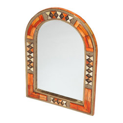 Moroccan Buzz - 17 Inch Moroccan Arched Henna Bone Mirror - This exquisite arched mirror is framed with hand-carved bone and hand-embossed metal.