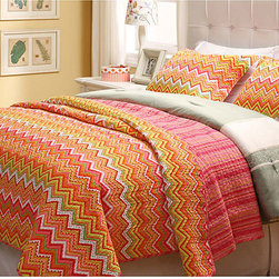 None - Orange ZigZag 3-piece Quilt Set - Brighten up any bedroom with the bold, citrus hues of this 100 percent cotton orange zigzag three-piece quilt set. The fun colors and modish pattern will look adorable in your little girl's room, and spills are no problem since it's machine washable.