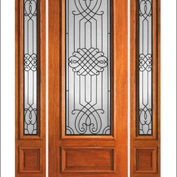 """IR Iron Insulated Entry Doors Model  # 739 - Our Iron Insulated doors are very unique.  Each door contains hand forged iron insulated between two panes of tempered glass.  this makes the unit beautiful and easy to clean.  Units can be made as single doors, double doors, or doors with side lites.  80"""" tall doors are """"Full Lite"""" and 96"""" tall doors are ¾ Lite with a rich panel at the bottom.  All doors have raised moulding standard, and a carved moulding can be added as an option."""