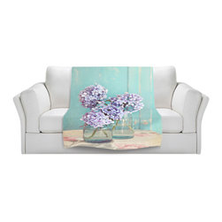 DiaNoche Designs - Throw Blanket Fleece - Sylvia Cook Hydrangeas in Mason Jars - Original Artwork printed to an ultra soft fleece Blanket for a unique look and feel of your living room couch or bedroom space.  DiaNoche Designs uses images from artists all over the world to create Illuminated art, Canvas Art, Sheets, Pillows, Duvets, Blankets and many other items that you can print to.  Every purchase supports an artist!