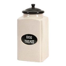 Imax - Dog Treat Large Canister with Metal Decor Plaque Ceramic Decor - Dog treat large canister with metal decor plaque ceramic living, dining and family room home accent decor