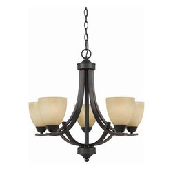 Triarch International - Value Series 240 English Bronze Five-Light Chandelier - -Antiqued Cognac painted glass shades  -Includes 3 ft. of chain and 12 ft. of wire Triarch International - 33243