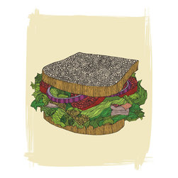 Murals Your Way - Sandwich Wall Art - Painted by Valentina Ramos, the Sandwich wall mural from Murals Your Way will add a distinctive touch to any room