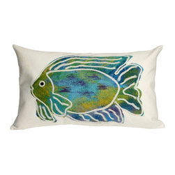 "Trans-Ocean Inc - Batik Fish Aqua 12"" x 20"" Indoor Outdoor Pillow - The highly detailed painterly effect is achieved by Liora Mannes patented Lamontage process which combines hand crafted art with cutting edge technology. These pillows are made with 100% polyester microfiber for an extra soft hand, and a 100% Polyester Insert. Liora Manne's pillows are suitable for Indoors or Outdoors, are antimicrobial, have a removable cover with a zipper closure for easy-care, and are handwashable.; Material: 100% Polyester; Primary Color: Aqua;  Secondary Colors: blue, green, purple, white; Pattern: Batik Fish; Dimensions: 20 inches length x 12 inches width; Construction: Hand Made; Care Instructions: Hand wash with mild detergent. Air dry flat. Do not use a hard bristle brush."