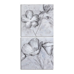 Florals In Black And White Art S/2 - *Frameless, Hand Painted Artwork On Canvas That Has Been Stretched And Attached To Wooden Stretching Bars