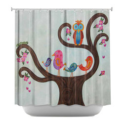 DiaNoche Designs - Shower Curtain Artistic - Tree Party III - DiaNoche Designs works with artists from around the world to bring unique, artistic products to decorate all aspects of your home.  Our designer Shower Curtains will be the talk of every guest to visit your bathroom!  Our Shower Curtains have Sewn reinforced holes for curtain rings, Shower Curtain Rings Not Included.  Dye Sublimation printing adheres the ink to the material for long life and durability. Machine Wash upon arrival for maximum softness on cold and dry low.  Printed in USA.