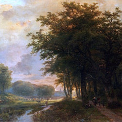 """Johann Bernard Klombeck A Wooded River Valley With Peasants Print - 18"""" x 24"""" Johann Bernard Klombeck A Wooded River Valley With Peasants On A Path, Cattle In A  Meadow Beyond premium archival print reproduced to meet museum quality standards. Our museum quality archival prints are produced using high-precision print technology for a more accurate reproduction printed on high quality, heavyweight matte presentation paper with fade-resistant, archival inks. Our progressive business model allows us to offer works of art to you at the best wholesale pricing, significantly less than art gallery prices, affordable to all. This line of artwork is produced with extra white border space (if you choose to have it framed, for your framer to work with to frame properly or utilize a larger mat and/or frame).  We present a comprehensive collection of exceptional art reproductions byJohann Bernard Klombeck."""