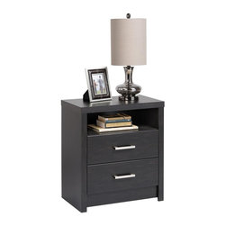 Prepac - Tall Nightstand - Finished in durable Washed Black laminate. The 2 drawers feature bold brushed metal handles. Drawers run smoothly on metal glides with built-in safety stops. Constructed from CARB-compliant composite wood. 5-year manufacturer's limited parts warranty. Ships Ready to Assemble, includes an instruction booklet for easy assembly. 25 in. W x 15.25 in. D x 28 in. H The District bedroom collection is inspired by the simplicity of urban design; the Two-Drawer Tall Nightstand features bold brushed metal handles and a sleek facade. Its Washed Black laminate fuses together classic black with warm brown undertones to create a high-end look. At 28 inches tall, this nightstand is the ideal height for taller beds with pillow top mattresses. Two drawers and an open shelf provide ample space for bedside storage.