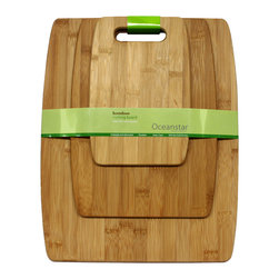 Oceanstar 3-Piece Bamboo Cutting Board Set CB1156 - Have a handy set of cuttings boards to assist you in preparing your meals. This 3-piece bamboo cutting board set from Oceanstar Design Collection comes in 3 different sizes for different usages. You can use the small sized cutting board for cutting fruits to serve houseguests while preparing different ingredients for a delicious meal on the other cutting boards. This allows for a more sanitary way of using the cutting board. The nature of bamboo makes it elegant on any kitchen counter. Its lightweight design is easy to store and easy to maintain. Furthermore, bamboo cutting boards are popular and eco-friendly due to their durability and are considered environmentally friendly.