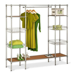 Freestanding Steel Closet With Basket Shelves - Honey-Can-Do WRD-02350 Adjustable Free Standing Steel Closet.  This amazing wardrobe offers a 34 inch handing rod which is able to accommodate long dresses and coats.  The contemporary design includes a rust resistant finish that can easily be cleaned with a damp cloth.  Also features a durable steel construction that is able to withstand heavy use.  The shelves can be adjusted to fit almost any item you desire no matter what the size.  Get that closet in order!  Product dimensions: 67 L x 16.5 W x 68 H inches.