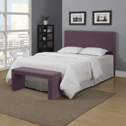 PORTFOLIO - Portfolio Upton Amethyst Purple Linen Full/Queen Headboard and Bench Set - Accent your bed from head to toe with this purple upholstered headboard and bench set. The bench provides a nice place to sit when getting dressed, and both pieces are accented with nail heads. The headboard easily converts from full to queen size.