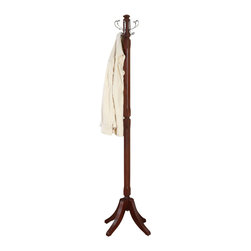 Powell - Powell Contemporary Merlot Coat Rack - This coat rack reflects the contemporary style of this collection. There is a beveled edge center post with 4 fluted feet. There are 4 brushed chrome hooks to hold coats and hats. The construction is solid wood. Some assembly required.