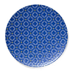 Q Squared NYC - Montecito Blue Large Platter - Transport your dining table to historical Montecito with the beautiful, vibrant colors of this collection, inspired by the intricate tiles and textures of the romantic city.