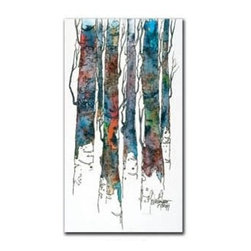 """Birch II 12x24 Print - """"Birch II"""" is a landscape canvas giclee by Cheri Greer.  This 12x24 canvas is gallery wrapped. We take the fine art canvas and stretch it over a wooden frame, adhering the canvas to the backside of the frame. The canvas actually wraps around the edges of the frame, giving your print the look of a fine piece of art, such as you might find in an art gallery. There is no need for a picture frame. Your piece of art is ready to hang or lean against a wall, or display on an easel."""