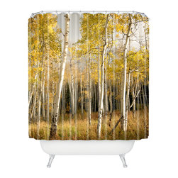 DENY Designs - Bird Wanna Whistle Golden Aspen Shower Curtain - Who says bathrooms can't be fun? To get the most bang for your buck, start with an artistic, inventive shower curtain. We've got endless options that will really make your bathroom pop. Heck, your guests may start spending a little extra time in there because of it!