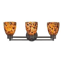 Design Classics Lighting - Neuvelle Bronze Modern Bathroom Light with Brown Art Glass - 703-220 GL1005MB - Contemporary / modern neuvelle bronze 3-light bathroom light. A socket ring may be required if installed facing down. Takes (3) 100-watt incandescent A19 bulb(s). Bulb(s) sold separately. UL listed. Damp location rated.