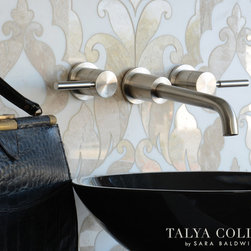Rumi, Talya Collection by Sara Baldwin for Marble Systems - Rumi, a stone waterjet mosaic shown in Diana Royal polished and Snow White honed, is part of the Talya Collection by Sara Baldwin for Marble Systems.