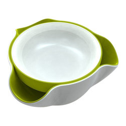 Joseph Joseph - Joseph Joseph Double Dish Bowl, White/Green - The perfect solution to the problem of serving snacks such as olives and pistachio nuts, with their inedible stones and shells. Its unique design comprises of a serving dish sitting on top of a larger collection bowl, curved outwards in three places to allow the disposal of unsightly food waste. As well as hiding any waster from view. It eliminates the need for additional empty bowls on the table. Available in white/green or white/grey.