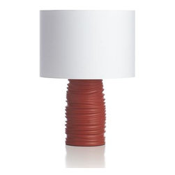 Maisie Table Lamp - Organic folds pleat orange stoneware with shadow-catching dimension, playing perfect counterpoint to the clean white cotton drum shade.