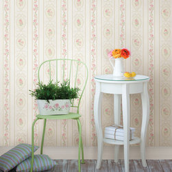 Palmer Pink Stripe Brewster Wallpaper - The Claremont book from Brewster is full of classic colors and patterns to add a relaxed feeling of home to rooms.