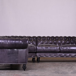 "Chesterfield Sectional in Mont Blanc Galaxy - This 117"" x 117"" radius corner chesterfield is made in Mont Blanc Galaxy!"