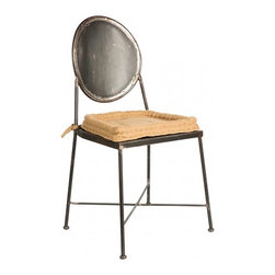 Adan Gray - Aidan Gray | Mary Jane Dining Chair w/ Cushion - Steel with Linen Cushion