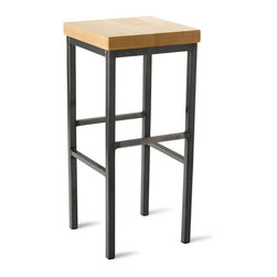 "Vermont Farm Table - Square Metal Stool, Maple, 30""h - Maple and raw steel come together to make a perfectly chic industrial stool for any modern kitchen. Choose from three sizes to match your counter height and you'll have the best seat in the house. May as well pour that second set of coffee and grab the paper."
